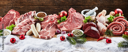 Panoramic view of variety of meat in winter