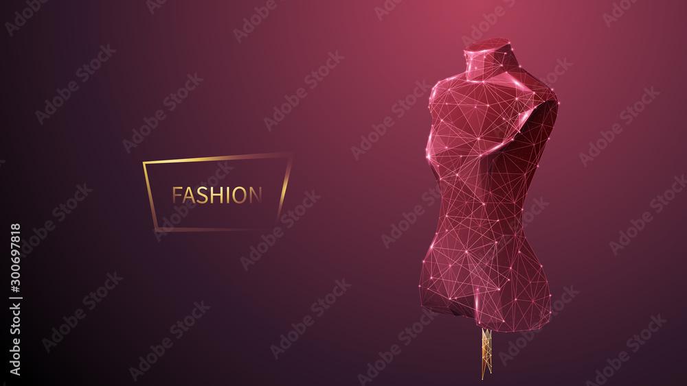Fototapeta Fashion low poly wireframe vector banner template. Polygonal 3D mannequin. Clothes designer workshop, dressmaker atelier mesh art illustration. Fashionable boutique. Connected dots with lines
