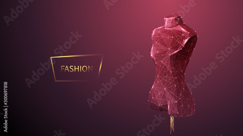Fototapeta Fashion low poly wireframe vector banner template. Polygonal 3D mannequin. Clothes designer workshop, dressmaker atelier mesh art illustration. Fashionable boutique. Connected dots with lines  obraz