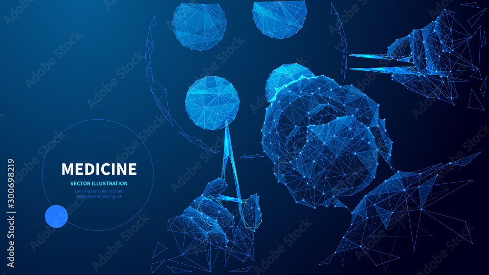 Fototapeta Medicine low poly wireframe vector banner template