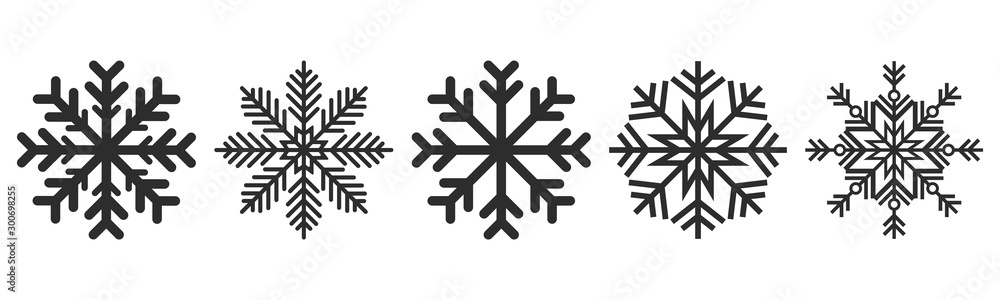 Fototapeta Snowflakes icons set. Vector drawing. Isolated object on a white background. Isolate.