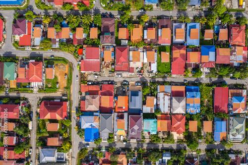 Billede på lærred Bird eyes view of local housing houses in Kota Kinabalu, Sabah, Malaysia