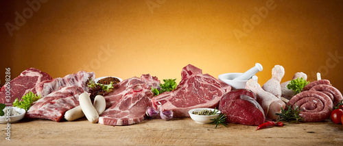 Panorama banner with assortment of meat for BBQ Fototapete