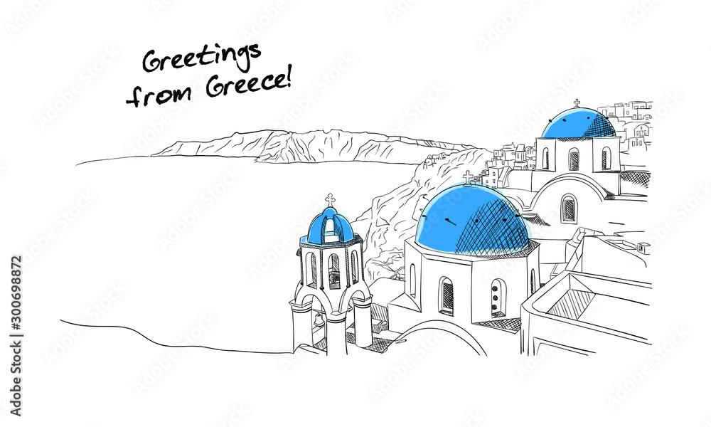 Fototapeta Santorini Greece hand drawn sketch