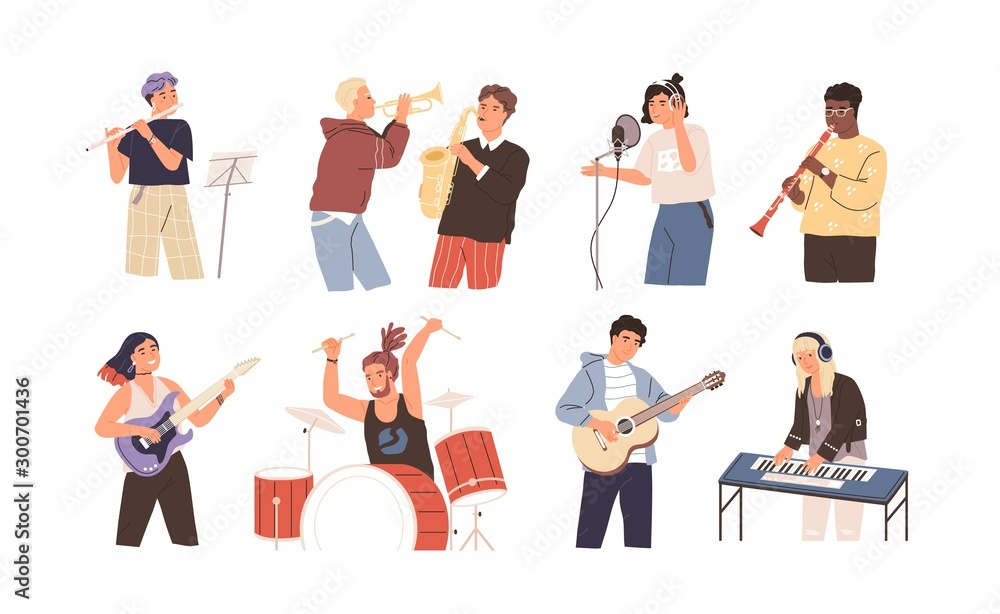 Fototapeta People playing musical instruments vector illustrations set. Young singer recording song with professional equipment cartoon character. Talented musicians, band members performance.