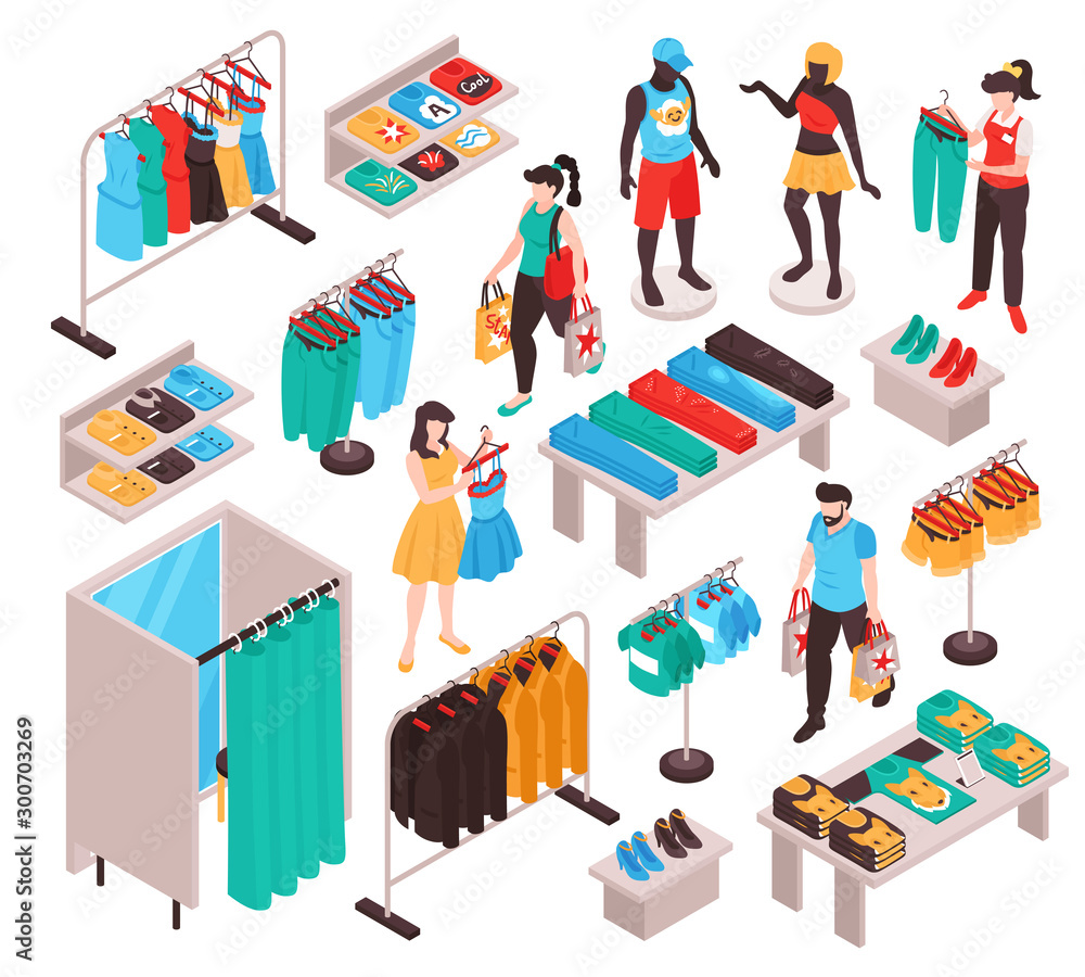 Fototapety, obrazy: Clothing Store Isometric Set