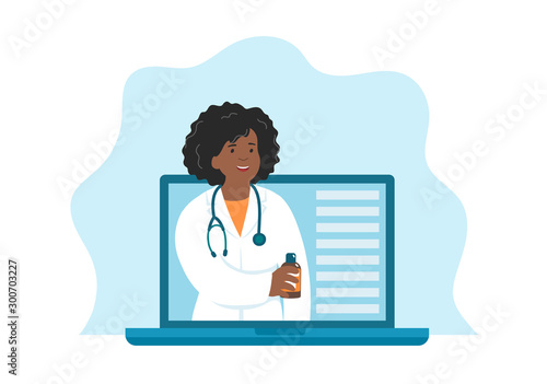 Online female african doctor with a bottle of medicine Fototapet