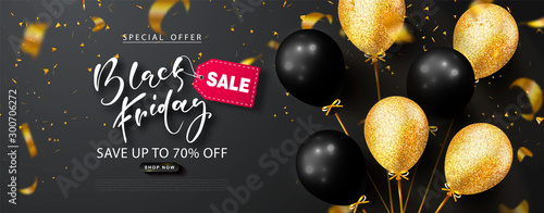 Fotografía  Black friday sale background with beautiful balloons and flying serpentine