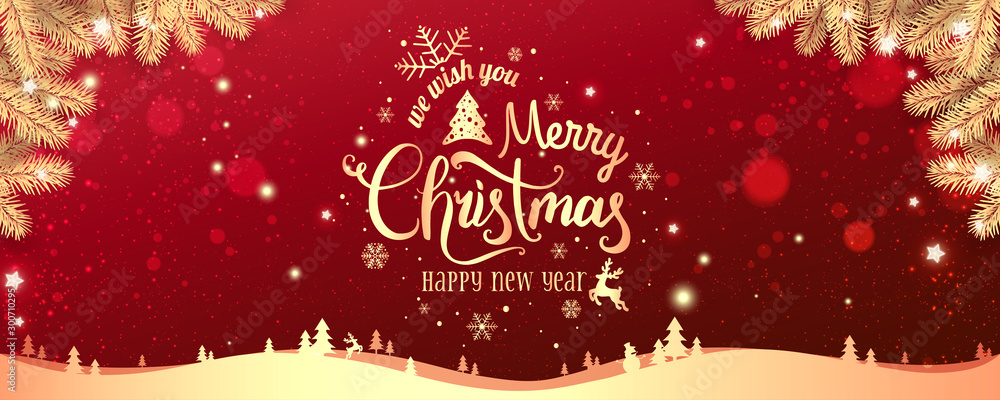 Fototapeta Gold Christmas and New Year Typographical on red Xmas background with winter landscape with snowflakes, light, stars. Merry Christmas card. Vector Illustration