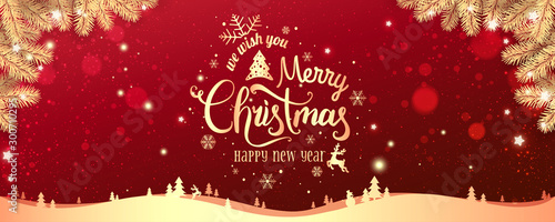 Fotografía Gold Christmas and New Year Typographical on red Xmas background with winter landscape with snowflakes, light, stars