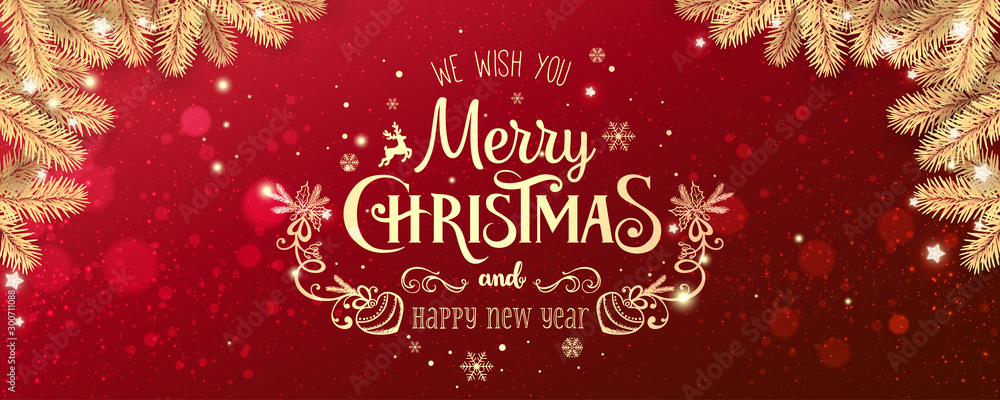 Fototapety, obrazy: Gold Christmas and New Year Typographical on red Xmas background with winter landscape with snowflakes, light, stars. Merry Christmas card. Vector Illustration