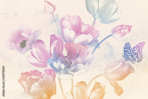 Bouquet of spring garden flowers tulips and butterfly. Floral decoration. Nature background. Illustration oil painting style. Pastel color. Pattern for banners, cards, posters, wedding invitations.