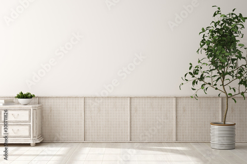 Obraz Home interior background, beige room with wicker furniture, Scandinavian style, 3d render - fototapety do salonu
