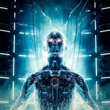 Maximum Power Achieved / 3D Illustration Of Futuristic Metallic Science Fiction Male Humanoid Cyborg Recharging Inside Computer Core