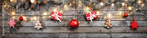 Obraz Decorative Christmas garlands with free space - fototapety do salonu