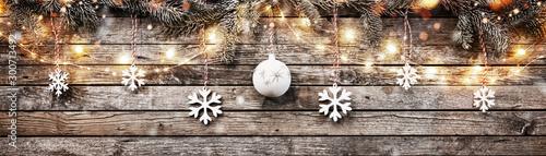 Obraz Decorative Christmas garlands with free space - fototapety do salonu