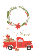 Christmas Red Truck With Presents