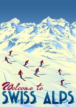 Winter Ski Sport Swiss Alps Tr...