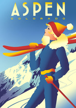 Ski Travel Poster Of Aspen, Co...