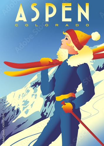 Canvas Print Ski Travel Poster of Aspen, Colorado, USA.