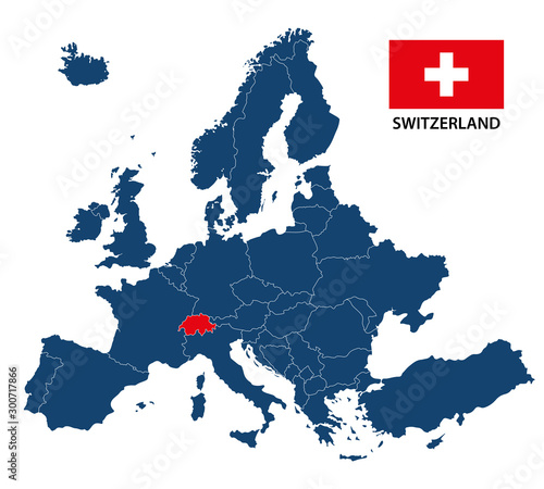 Simple illustration of a map of Europe with highlighted Switzerland and Swiss fl Billede på lærred