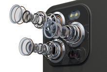 Multi-camera Smartphone. Disassembled Smartphone Cameras, Modern Lens Of Smartphone Cameras Structure. 3D Rendering