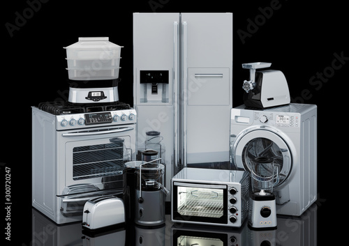 Photo Set of kitchen and home appliances in silver color, 3D rendering