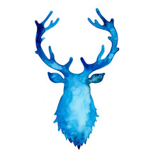 Watercolor Silhouette Of Deer ...