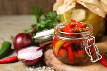 Glass Jar With Pickled Peppers...