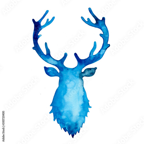 Watercolor silhouette of deer in blue color Wallpaper Mural