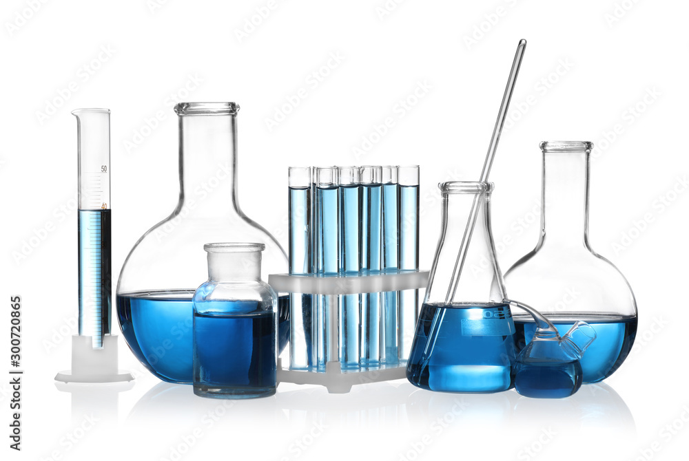 Fototapety, obrazy: Set of laboratory glassware with blue liquid isolated on white
