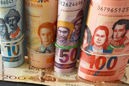 Fotomural  Bolivian money, Bolivianos. Banknotes of various denominations