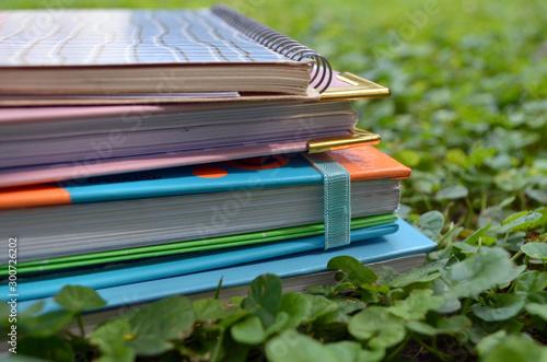 Fotografiet Pila de libros en el jardín