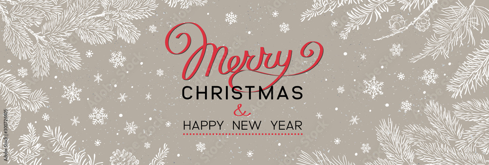 Fototapety, obrazy: Christmas banner with branches of christmas tree on brown. Happy new year greeting.