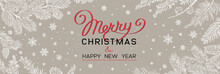 Christmas Banner With Branches Of Christmas Tree On Brown. Happy New Year Greeting.
