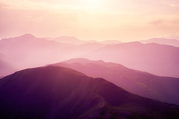 Pink sunset in the mountains.