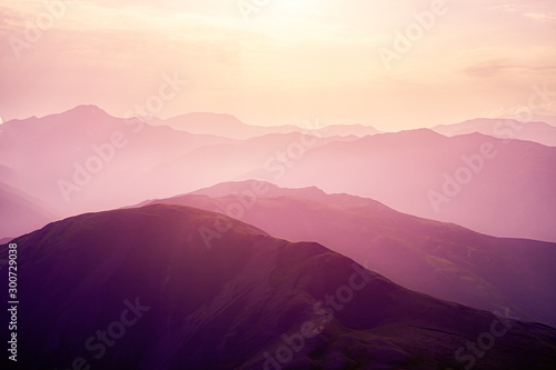 Obraz Pink sunset in the mountains. - fototapety do salonu