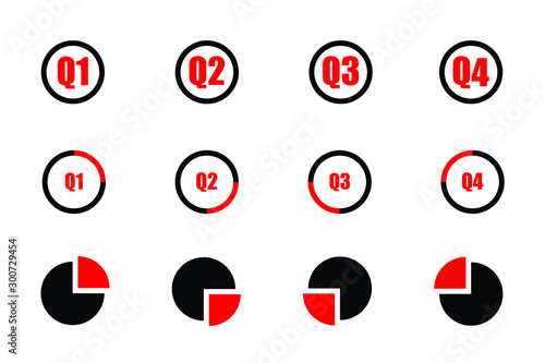 Fototapeta Quarterly icon set red and black showind first quarter second quarter third quarte and fourth quarter on three different designs isolated on white background obraz