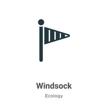 Windsock Vector Icon On White Background. Flat Vector Windsock Icon Symbol Sign From Modern Ecology Collection For Mobile Concept And Web Apps Design.