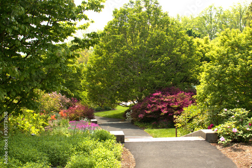 Colorful well landscaped park with early fall colors starting to appear