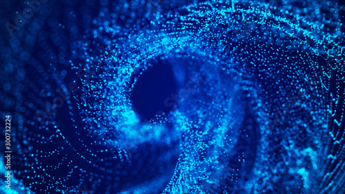 Foto op Aluminium Fractal waves Futuristic particles background. Digital background with connected blue dots. Big data visualization. 3d rendering.