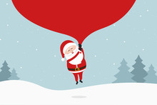 Santa Claus Holding Huge Bag And Flying To Delivery Christmas Gifts At Winter Snowy Landscape.