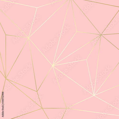 Stampa su Tela (illustration) gold line background, abstract artistic of geometric background