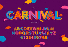 Vector Carnival Font And Alphabet. Hand Lettering For Banner, Poster, Invitation Template, Greeting Card