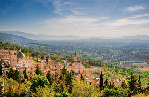 View of Assisi charming historic center and Umbria countryside seen from Rufinus Canvas Print