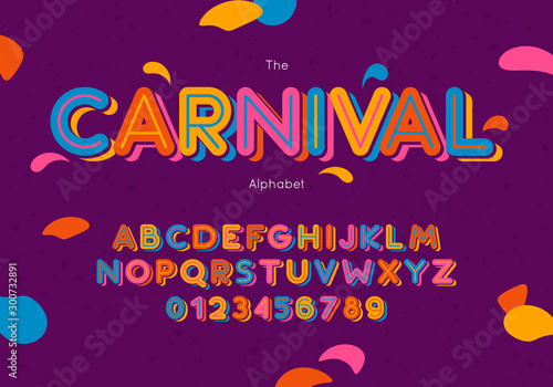 Leinwand Poster Vector carnival font and alphabet