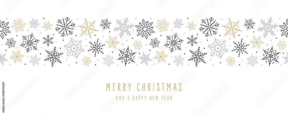Fototapety, obrazy: Christmas snowflakes elements ornaments seamless banner greeting card on white background