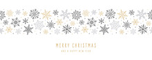 Christmas Snowflakes Elements Ornaments Seamless Banner Greeting Card On White Background