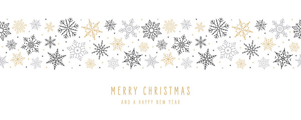 FototapetaChristmas snowflakes elements ornaments seamless banner greeting card on white background