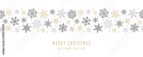 Christmas snowflakes elements ornaments seamless banner greeting card on white background - 300733639